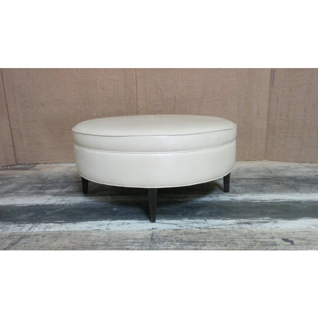 Leather Ottoman Kravet Leather Rushmore-Putty - Image 3 of 7