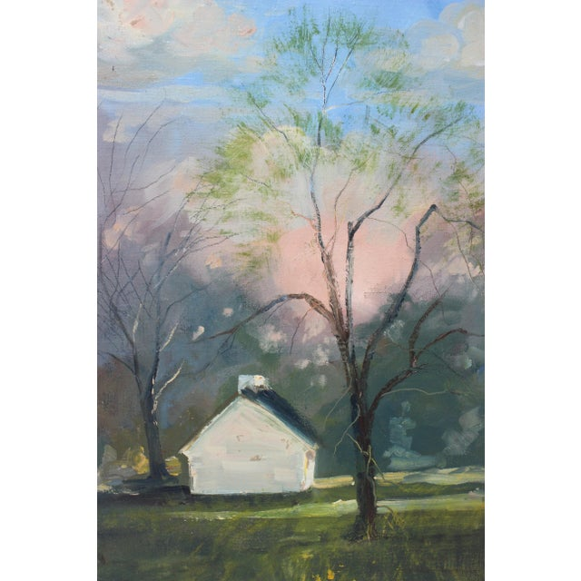 """Green Vintage Oil Painting """"Kentucky Homestead"""" With Coa by Listed Artist John Elliot, Opa. For Sale - Image 8 of 12"""