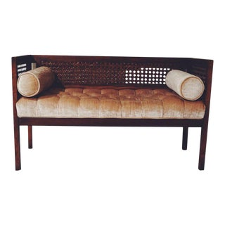 Mid-Century Gold Tufted Cane Bench Settee