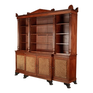 19th Century English Mahogany Library Bookcase For Sale