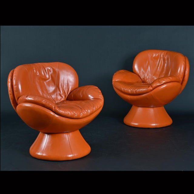 Nineteen-Laties Pedestal Base Orange Leather Swivel Pod Chairs by Jaymar For Sale - Image 6 of 13