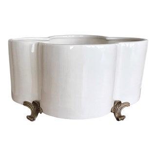 Port 68 Cream Porcelain Quatrefoil Cachepot For Sale