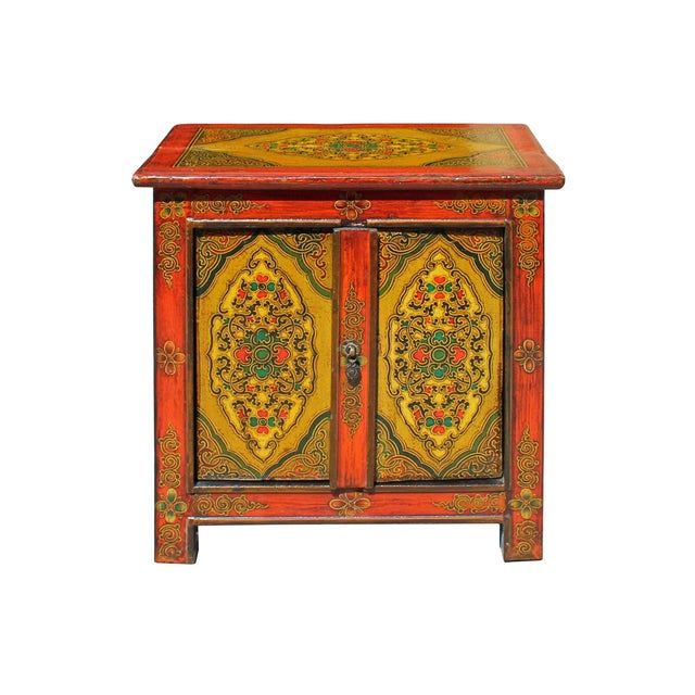 Elm Chinese Multi-Color Tibetan Flower Motif Small Table Cabinet For Sale - Image 7 of 7