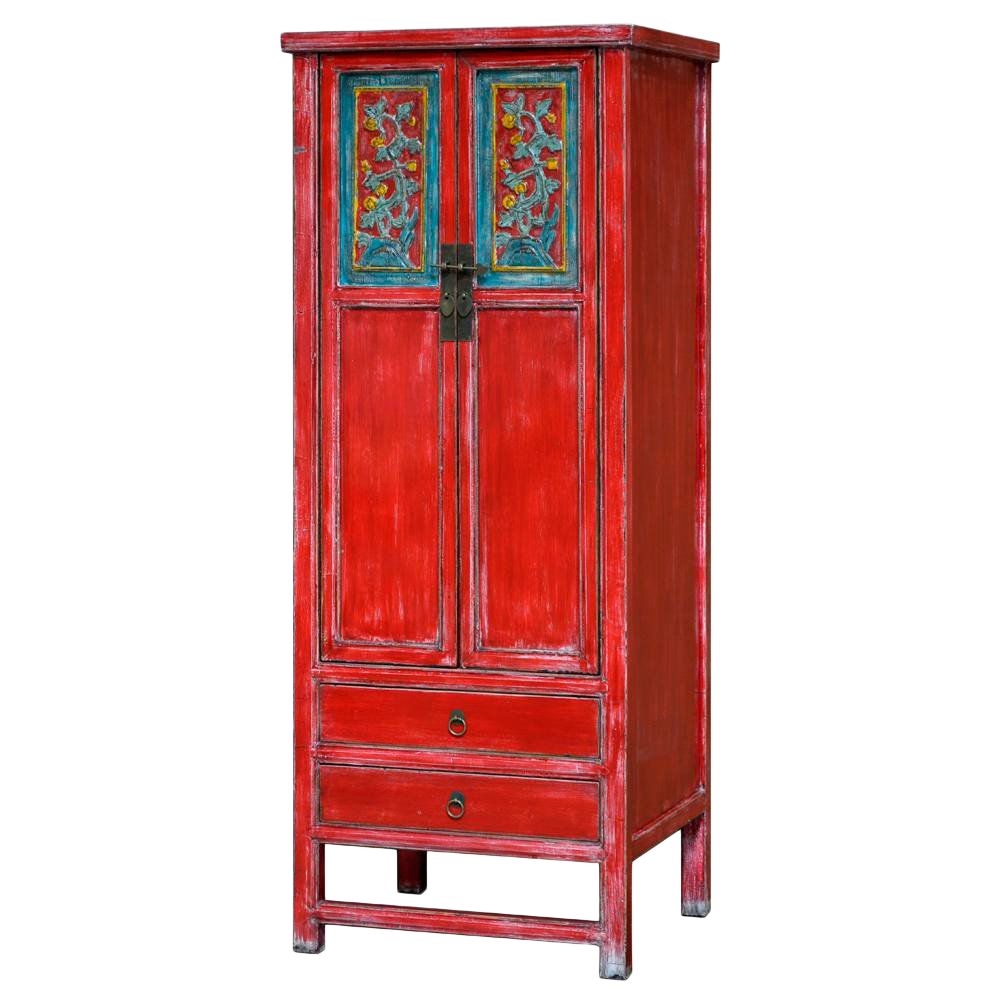 Vintage Chinese Qing Dynasty Style Red Blue Distressed Elm Wood