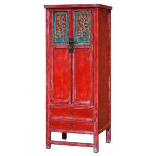Vintage Chinese Qing Dynasty Style Red & Blue Distressed Elm Wood Armoire
