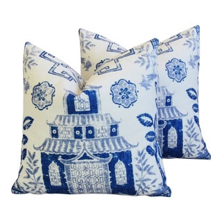 """Blue & White Chinoiserie Pagoda Feather/Down Pillows 17"""" Square - Pair"""