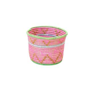 Handwoven Rwandan Sweetgrass Mutlicolor Coil Planter Basket