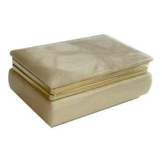 Hand Carved Italian Alabaster Box For Sale