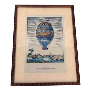 1950s Vintage Hot Air Balloon Ascension Hand Colored Book Plate Framed Print Strasbourg 1784 For Sale