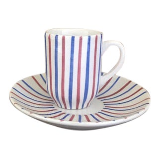 Vintage Italian Hand Painted Cup and Saucer For Sale