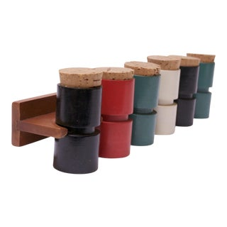 Mid-Century Japanese Modern Wooden Six-Jar Spice Rack For Sale