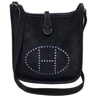 Hermes Black Suede Evelyne Tpm Mini Shoulder Bag For Sale