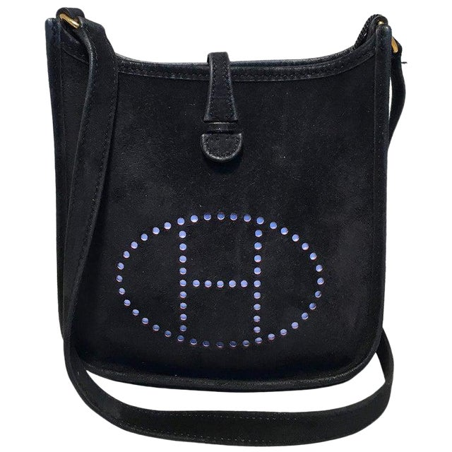 Hermes Black Suede Evelyne Tpm Mini Shoulder Bag For Sale