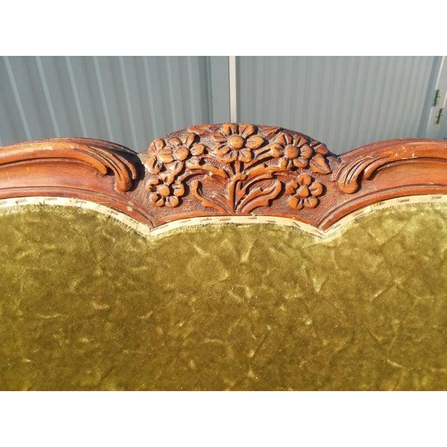 Wood Antique Victorian Velvet Sofa Settee Green For Sale - Image 7 of 13