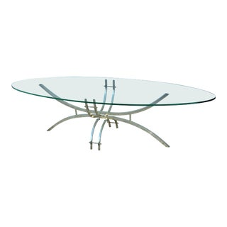 Mid-Century Modern Brass And Glass Oval Coffee Table For Sale