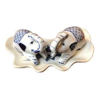 1980s Blue and White Elephant Salt and Pepper Shakers For Sale