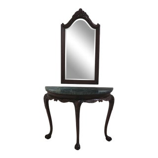 1990s Chippendale Ball & Claw Marble Top Console Table With Mirror - 2 Pieces For Sale