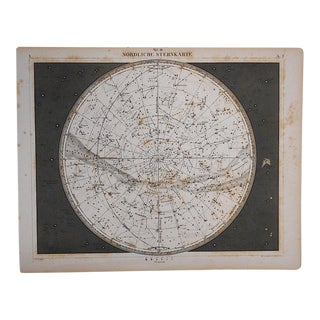 Antique Star Chart Lithograph-Northern Sky For Sale