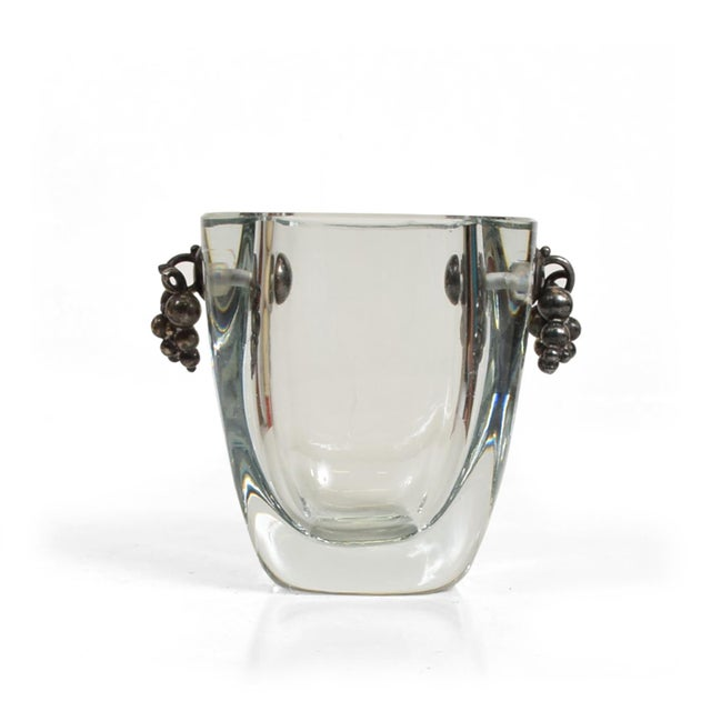 Beautiful Strombergshyttan Thick Glass Vase With Silver Grapevine Accents For Sale - Image 10 of 10
