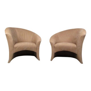 Pair Vintage Modern Thayer Coggin Lounge Chairs For Sale