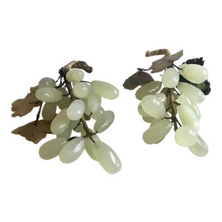Vintage Jade Grape Bunch Figurines- A Pair For Sale