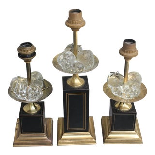 1960s Maison Charles Mid Century Solid Crystal Fruit Laden Lamps - Set of 3