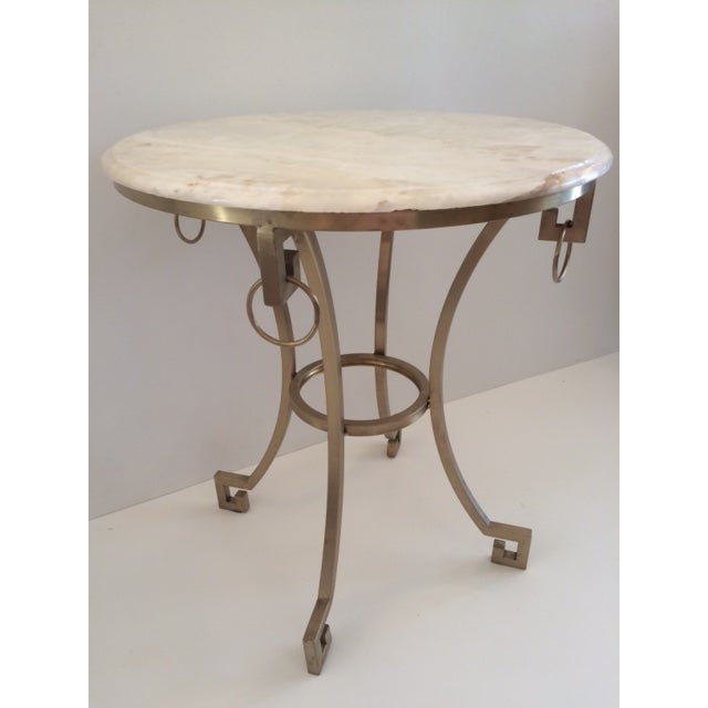 Modern Todd Hase Christelle Gueridon Onyx Top Side Table For Sale - Image 3 of 9