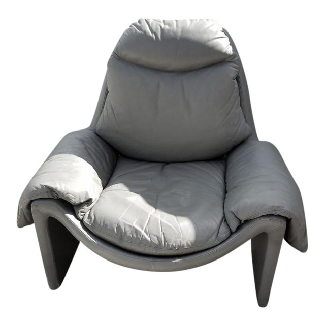 1970s Vintage Vittorio Introini for Saporiti Italian Leather Lounge Chair For Sale