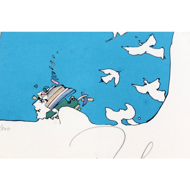 Peter Max Mid-Century Modern Framed Peter Max Signed Lithograph Winters Dream 87/300 For Sale - Image 4 of 7