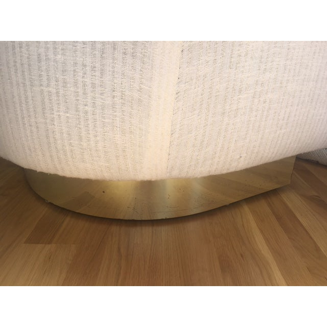 1970s Brass Base & Linen Loveseat - Image 9 of 10