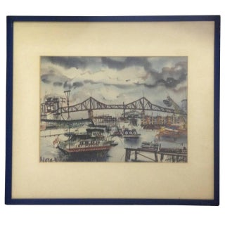 Watercolor Watercolor of the Queensborough Bridge For Sale