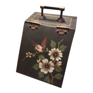 English Hand Painted Coal Scuttle For Sale