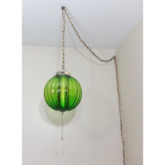 Mid century modern green glass hanging chandelier chairish mid century modern green glass hanging chandelier image 2 of 6 aloadofball Gallery