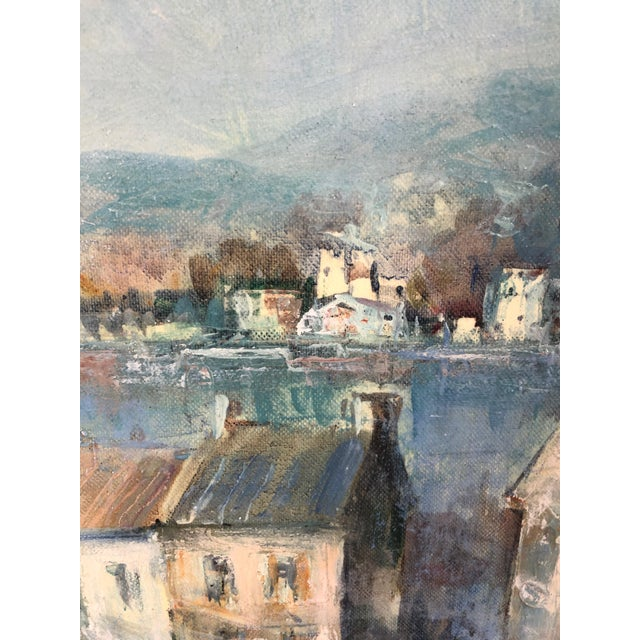 Oil on Canvas of Port Landscape by Lucien Delarue For Sale - Image 4 of 5