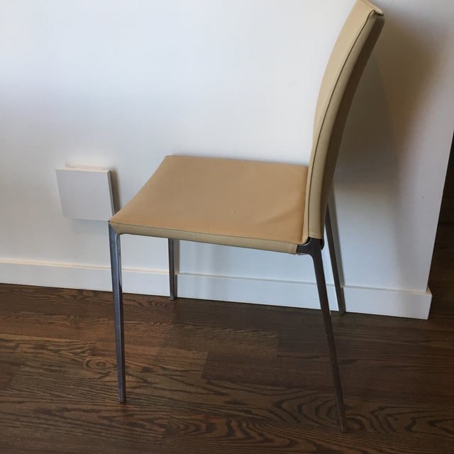 Aluminum Zanotta Lia Chair in Leather For Sale - Image 7 of 7