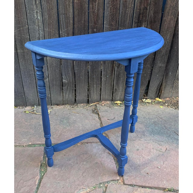 Transitional Blue Chalk Paint Demi Lune Side Table With Turned Legs For Sale - Image 4 of 13