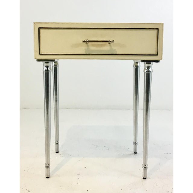 Bungalow 5 Modern Ivory Leather Jolene One Drawers Side Table For Sale In Atlanta - Image 6 of 6