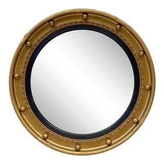English Round Gilt Framed Convex Mirror For Sale