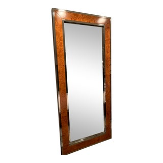 Burl Wood and Chrome Full Length Leaning Floor Mirror For Sale