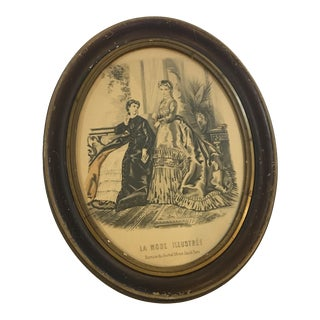 19th Century Oval Frame of French Fashions