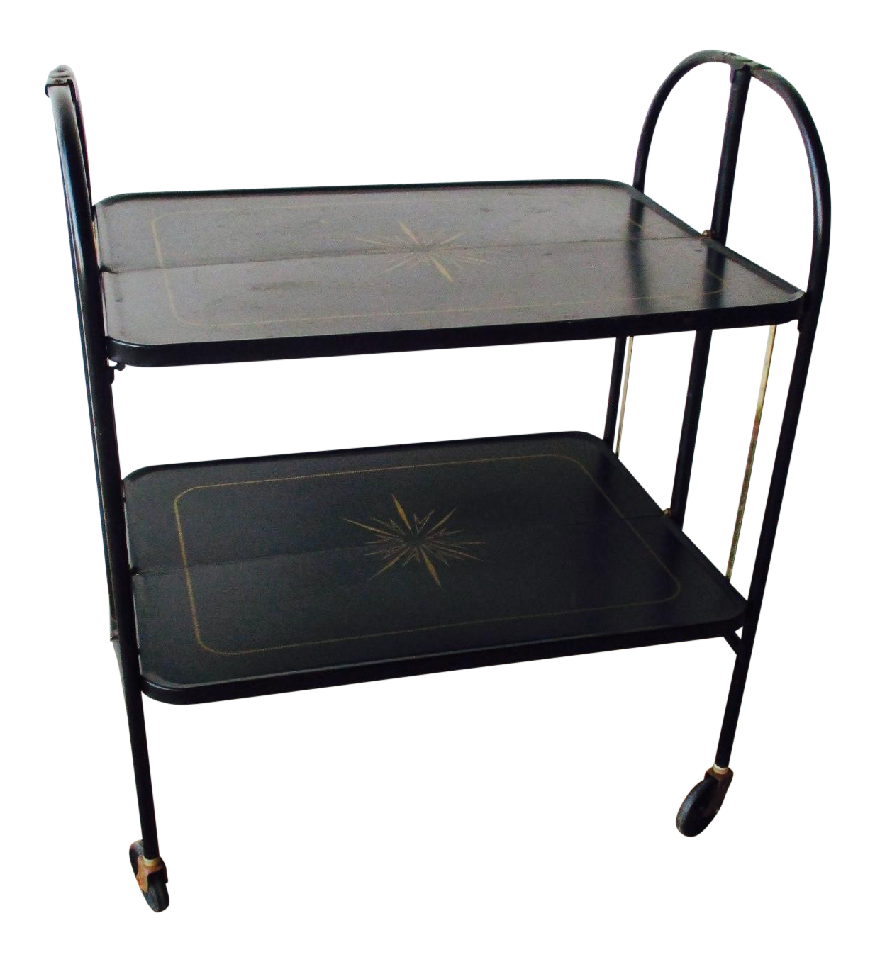 Black Vintage Rolling Folding Bar Cart