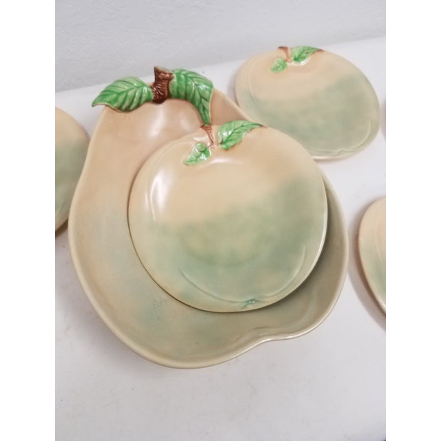Vintage English Pear Bowl and Six Peach Plates This set was made by Shorter and Son. The company was at Stoke on Trent....