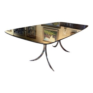 1970s Chrome Double Pedestal Dining Table For Sale