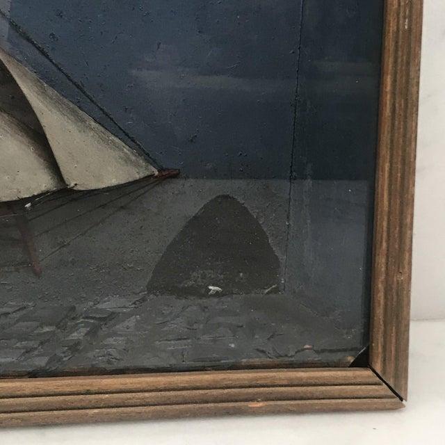 Folk Art Folk Art Shadowbox Ship Diorama of a Three Masted Schooner For Sale - Image 3 of 10