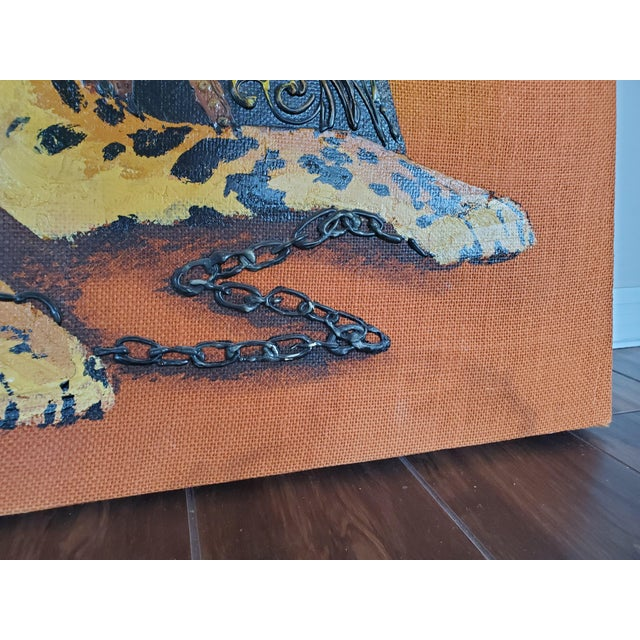 1970s Mid-Century Modern Roman Cheetah Oil Painting on Burlap Canvas by Wyman For Sale - Image 9 of 13