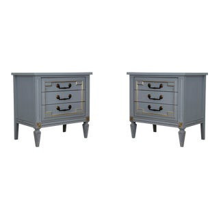 Pair of Mid-Century 3-Drawers Nightstands With Gold Painted Accents For Sale