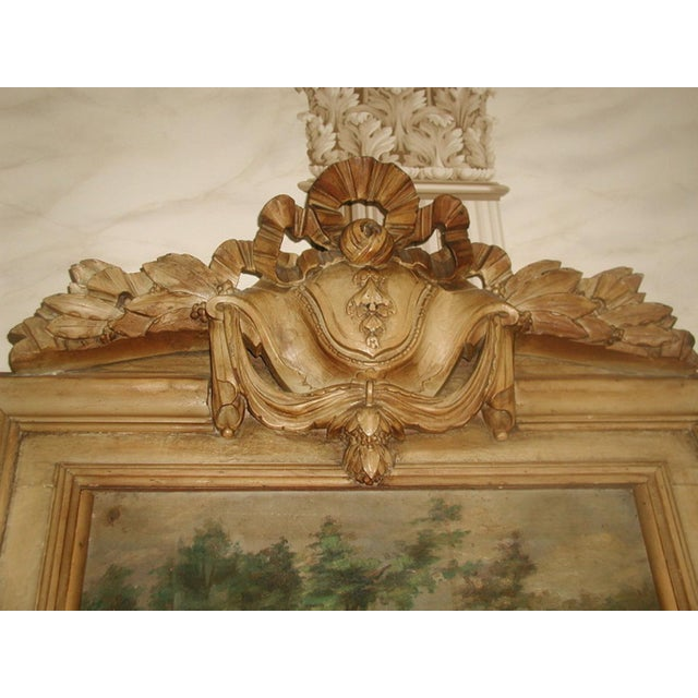 French Trumeau Mirror Canvas Oil Painting, 19th C. - Image 8 of 8