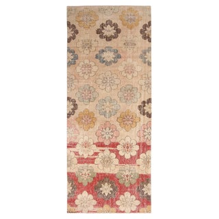 Vintage Mid-Century Red and Cream Beige Wool Rug With Multicolor Floral Accents - 5′2″ × 8′9″ For Sale