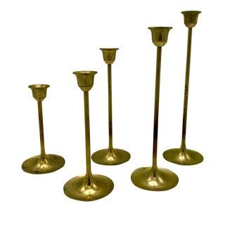 Mid-Century Brass Graduated Candle Sticks - Set of 5