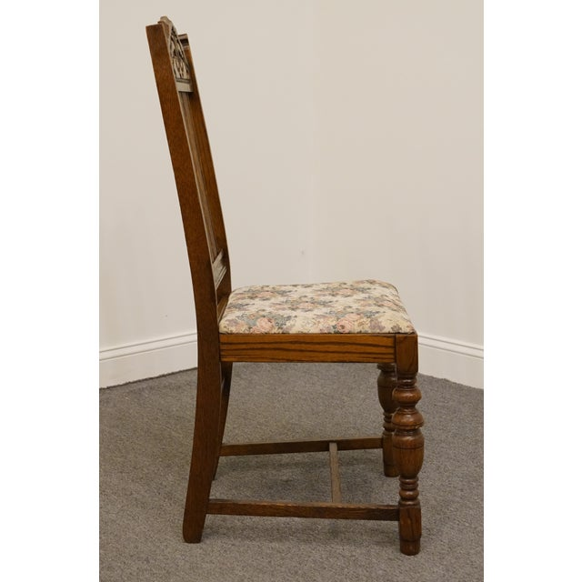 Wood 1920's Antique Vintage Gothic Revival Jacobean Dining Side Chair For Sale - Image 7 of 9
